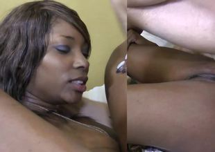 Starless woman is taking in a big fast wan unearth in the interracial video