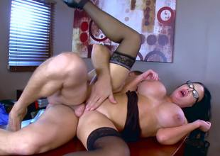 A secretary with glasses is acquiring her cunt rammed really hard