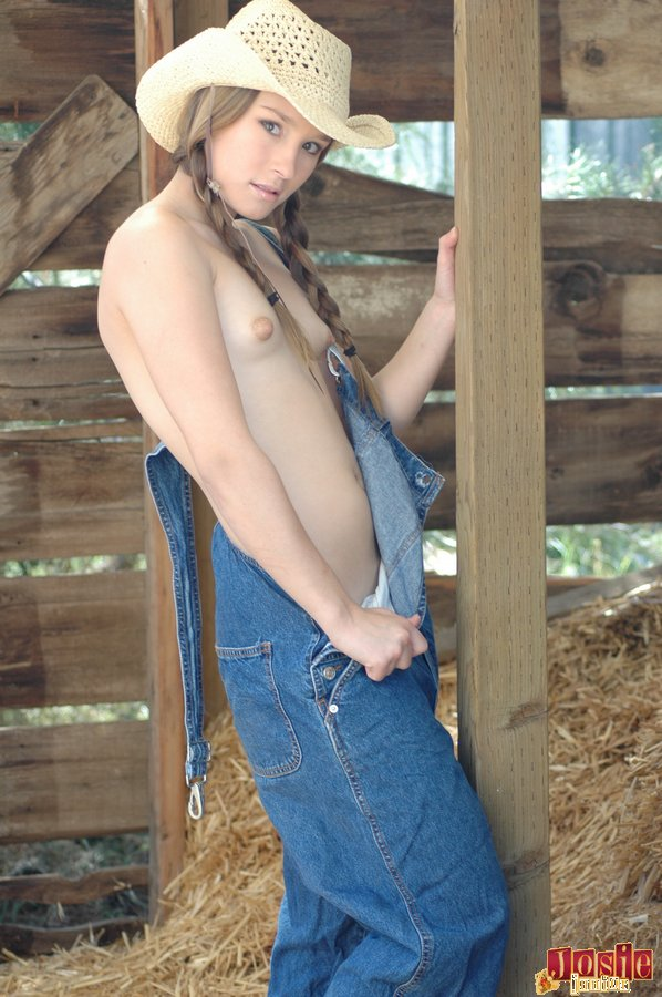 Adult Esol Cowgirl Topless In Overalls